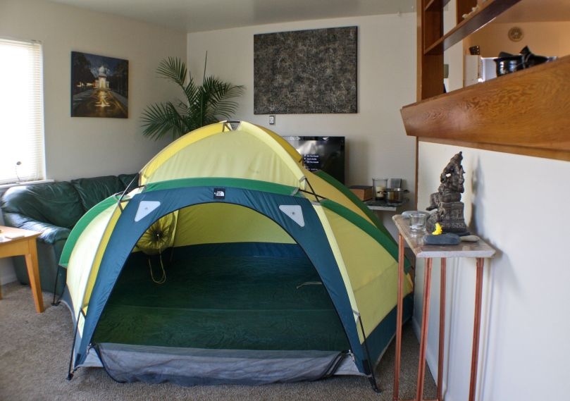 The tent isn't that large, my place is that small!